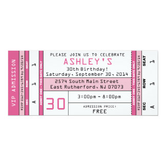 Concert Ticket Invitation Pink
