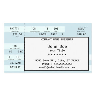 concert ticket pack of standard business cards
