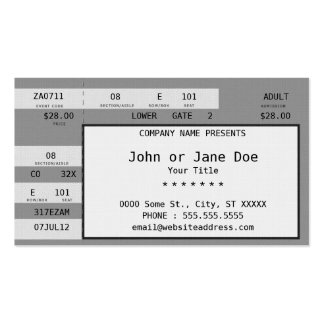 concert ticket pack of standard business cards