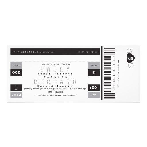 Concert Ticket Reception Invitation in Black White