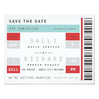Concert Ticket Save the Date 11 Cm X 14 Cm Invitation Card