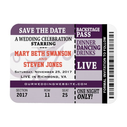 Concert Ticket Save the Date Magnet