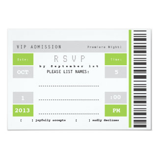 Concert Ticket Stub RSVP Card