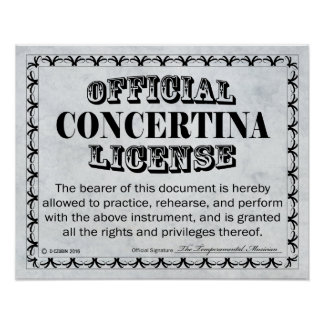 Concertina License Poster