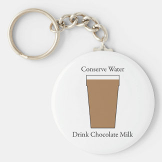 Concerve Water Drink Chocolate Milk Basic Round Button Key Ring