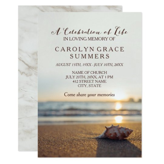 free celebration of life program template - conch on beach celebration of life card
