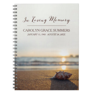 Conch on Beach In Loving Memory Guestbook Spiral Notebook