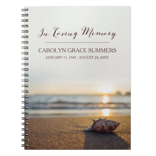Conch on Beach In Loving Memory Guestbook Spiral