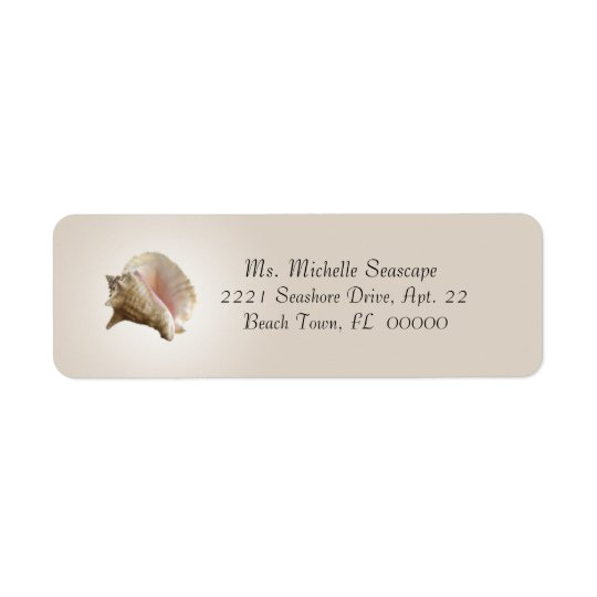 Conch Shell Photograph on Brown Return Label