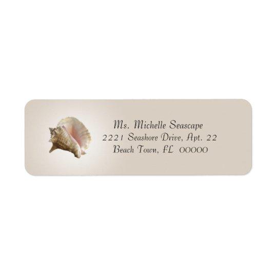 Conch Shell Photograph on Brown Return Label Return Address Label