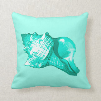 Conch shell sketch - turquoise, white and aqua throw pillow