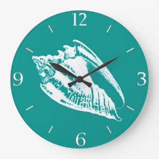 Conch Shell - turquoise and white Wall Clocks