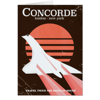Concorde vintage flight travel poster card