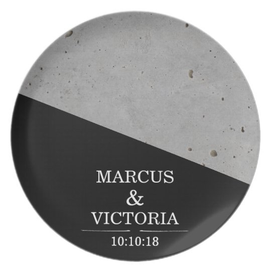 Concrete Black and White Modern Wedding Plate