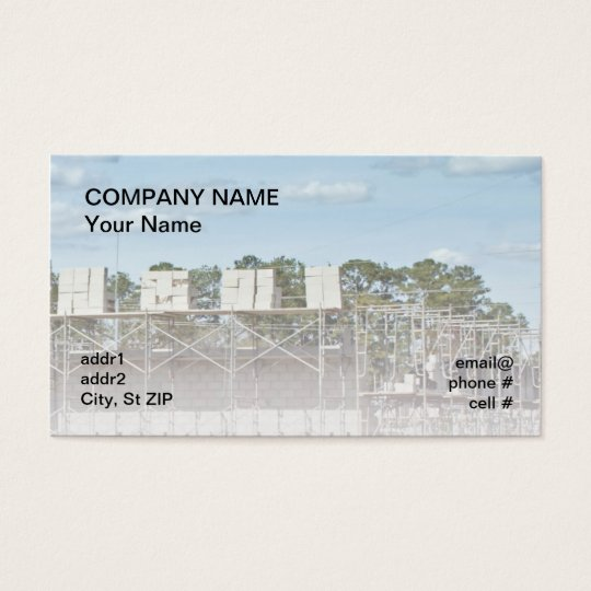 concrete blocks on scaffolding business card