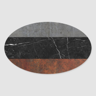 Concrete, Marble and Rusted Iron Abstract Oval Sticker