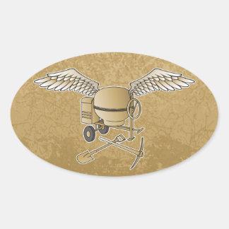 Concrete mixer beige oval sticker