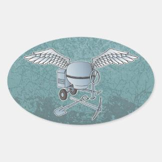 Concrete mixer blue-gray oval sticker