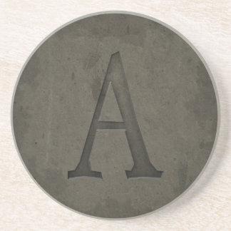 Concrete Monogram Letter A Coaster