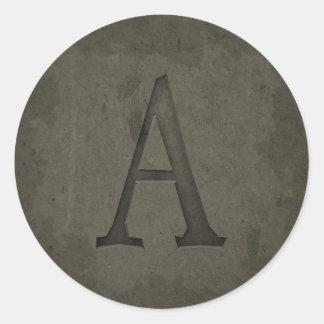 Concrete Monogram Letter A Stickers