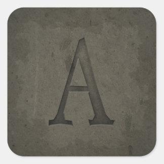 Concrete Monogram Letter A Square Sticker