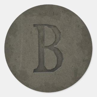 Concrete Monogram Letter B Round Stickers