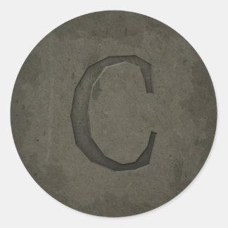 Concrete Monogram Letter C Round Sticker