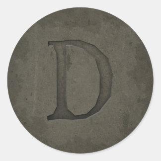 Concrete Monogram Letter D Round Sticker