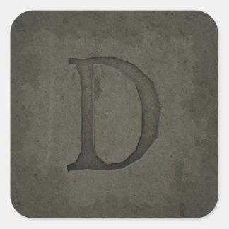 Concrete Monogram Letter D Square Sticker