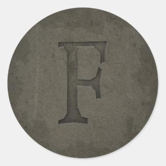 Concrete Monogram Letter F Round Stickers