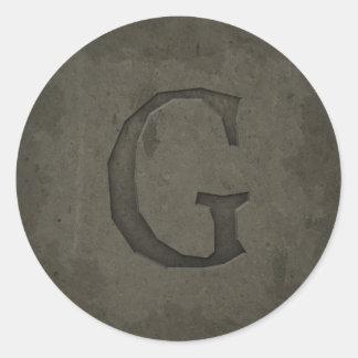 Concrete Monogram Letter G Round Sticker