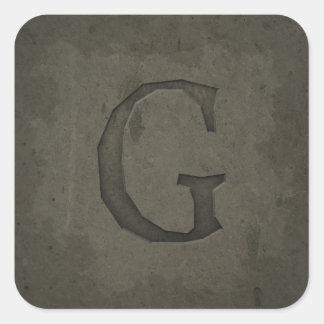Concrete Monogram Letter G Stickers