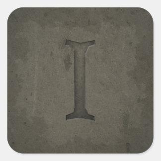 Concrete Monogram Letter I Stickers