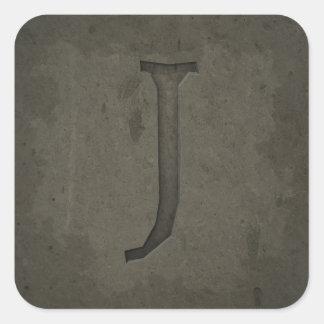 Concrete Monogram Letter J Square Sticker