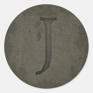 Concrete Monogram Letter J Round Sticker