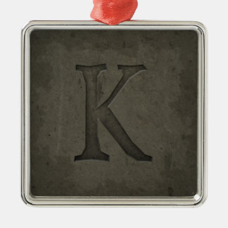 Concrete Monogram Letter K Christmas Ornament