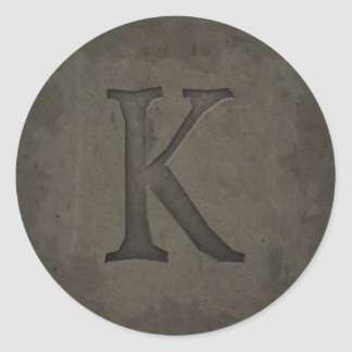 Concrete Monogram Letter K Stickers