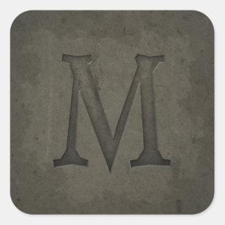 Concrete Monogram Letter M Square Sticker