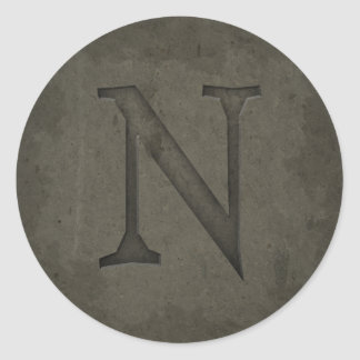 Concrete Monogram Letter N Round Stickers