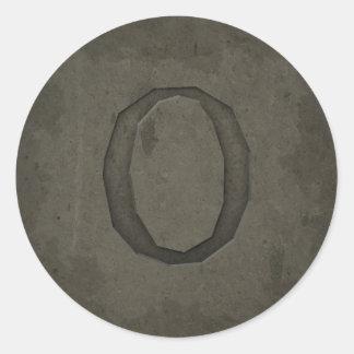 Concrete Monogram Letter O Round Sticker