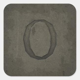 Concrete Monogram Letter O Stickers