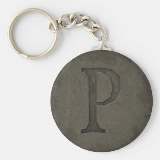 Concrete Monogram Letter P Key Ring