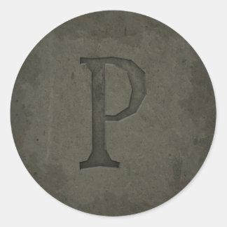 Concrete Monogram Letter P Round Sticker