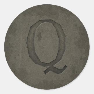 Concrete Monogram Letter Q Round Sticker