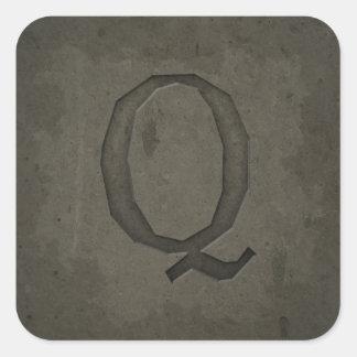 Concrete Monogram Letter Q Square Sticker