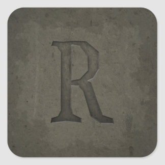 Concrete Monogram Letter R Square Sticker