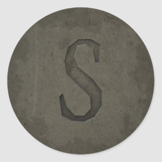 Concrete Monogram Letter S Round Stickers