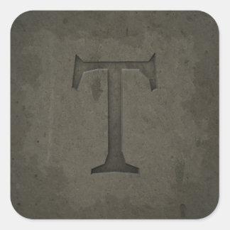 Concrete Monogram Letter T Square Sticker