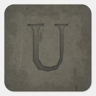 Concrete Monogram Letter U Square Stickers