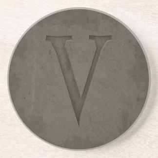 Concrete Monogram Letter V Coaster
